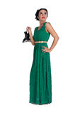 Pretty young woman in long green dress Stock Photography
