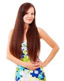 Pretty young woman with long hair Stock Photos