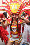 Pretty Young Woman Marches in Carnival Parade, Peru Royalty Free Stock Images