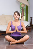 Pretty young woman meditating Royalty Free Stock Images