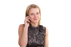 Pretty young woman with a mobil phone Stock Photos