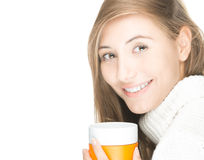 Pretty young woman with mug on white background. Royalty Free Stock Photo