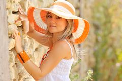 Pretty young woman outdoor royalty free stock photography