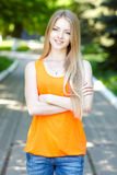Pretty young woman outdoors. Royalty Free Stock Photo