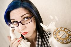 Pretty young woman on the phone stock photos