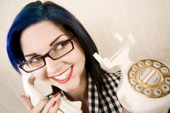 Pretty young woman on the phone royalty free stock photo
