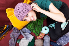 Pretty young woman with pink wool hat Royalty Free Stock Photography