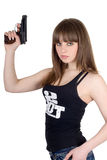 Pretty young woman with pistol Royalty Free Stock Image