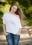 Pretty young woman portrait on nature Royalty Free Stock Images