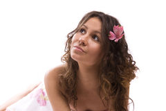 Pretty young woman portrait with orchid stock photo