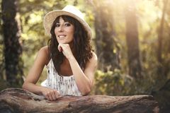 Pretty young woman. Portrait of pretty woman smiling in nature Royalty Free Stock Photography