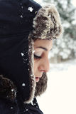 Pretty young woman portrait. Prety young woman with winter hat, outside portrait Stock Image