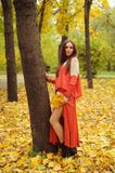 Pretty young woman posing in autumn park. Dressed in casual orange sweater and skirt, autumn outdoor royalty free stock photo