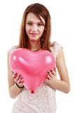 Pretty young woman posing on white background, valentine day con Stock Photography