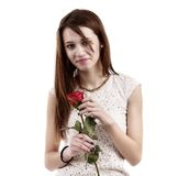 Pretty young woman posing on white background, valentine day con Stock Image