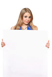 Pretty young woman posing with white board Stock Image