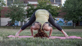 Pretty Young Woman Practicing Yoga in the Park (Tripod) Royalty Free Stock Photos