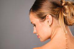 Pretty young woman profile portrait Royalty Free Stock Photography