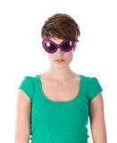Pretty young woman with purple sunglasses Royalty Free Stock Images