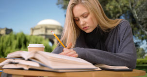 Pretty young woman reading and writing for a term paper Royalty Free Stock Photos