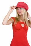 Pretty young woman in red Stock Images