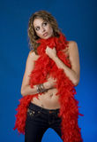 Pretty Young Woman With Red Boa Stock Image