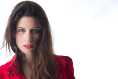 Pretty young woman with red jacket Royalty Free Stock Photography