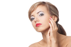 Pretty young woman with red lipstick and manicure Royalty Free Stock Photos