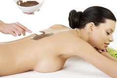 Pretty young woman relaxing being massaged Stock Photography