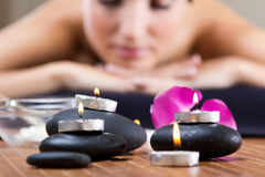 Pretty young woman relaxing at spa Stock Image