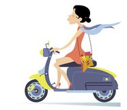 Pretty young woman rides on the scooter illustration Royalty Free Stock Photo