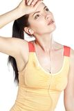 Pretty young woman runner looking tired Stock Image
