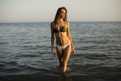 Pretty young woman in the sea Stock Photo