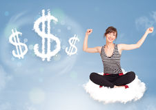 Young woman sitting on cloud next to cloud dollar signs Stock Photos