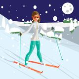 Pretty young woman skiing in mountains. Winter sports royalty free illustration