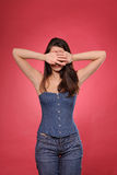 Pretty young woman with slim waist Stock Photography