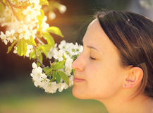 Pretty young woman smells flower Royalty Free Stock Photo