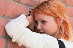 Pretty young woman in sorrow Stock Photos