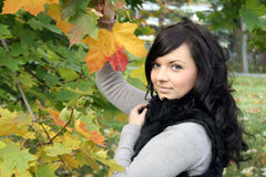 Pretty young woman standing near maple Stock Photos