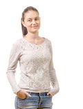 Pretty young woman standing on white background Stock Image