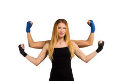 Pretty young woman with strong arms, multi handed Stock Photography