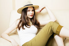 Pretty young woman in summer hat, fashion modern people concept hipster. Lifestyle Royalty Free Stock Image