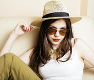 Pretty young woman in summer hat, fashion modern people concept. Pretty young woman in summer hat and sunglasses, fashion modern people concept hipster lifestyle Stock Images