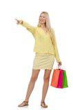 Pretty young woman in summer yellow clothing Royalty Free Stock Photo