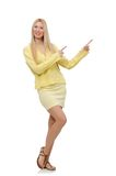 Pretty young woman in summer yellow clothing Stock Images