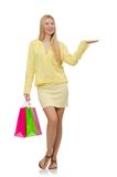 Pretty young woman in summer yellow clothing Royalty Free Stock Photos
