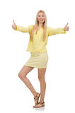 Pretty young woman in summer yellow clothing Royalty Free Stock Photography