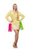 Pretty young woman in summer yellow clothing Stock Photo