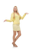 Pretty young woman in summer yellow clothing Royalty Free Stock Images