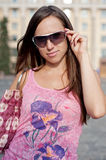 Pretty young woman in sunglasses Royalty Free Stock Images